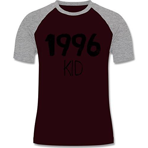 Geburtstag - 1996 KID - zweifarbiges Baseballshirt für Männer Burgundrot/Grau meliert