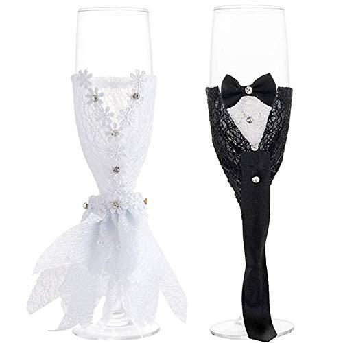 LONGBLE Hochzeit Champagner Gläser mit Handarbeit Kleider 2 stücke,Hochzeitsgeschenk für...