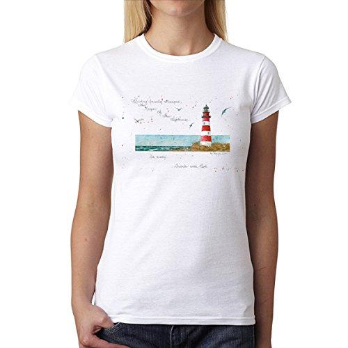 Faro Vista Mare Donna T-Shirt XS-2XL Nuovo Bianca