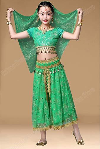 XGWD Kinder Mädchen Bauchtanz Outfit Kostüm Indien Dance Kleidung Die 5 Stücke Kopfbedeckung + Bauchtänzerin Schleier + Bauchtanz Top + Bauchtanz Gürtel + Bauchtänzerin Rock,Green,L