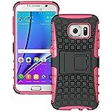 FALIANG Étui Samsung Galaxy S7 Edge, 2en1 Armure Combinaison Pneu Motif Antichoc Heavy Duty Bouclier Shield Coque Rigide Housse pour Samsung Galaxy S7 Edge (Hot pink)