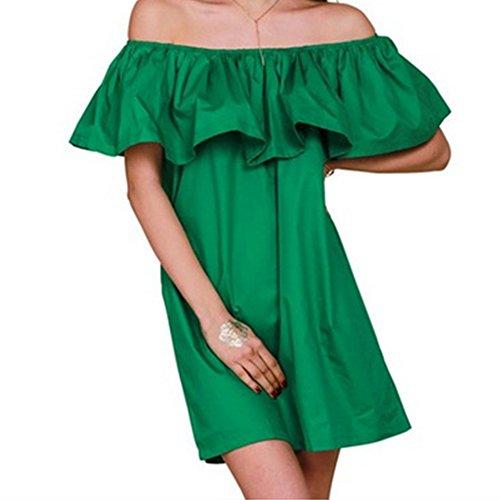 LOBZON Damen Cocktail Kleid Einheitsgröße Grün