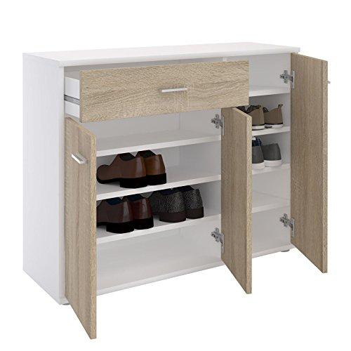 CARO-Möbel Schuhschrank DEUSTO Schuhregal Schuhkommode mit 1 Schublade und 3 Türen in Weiß/Sonoma Eiche 2