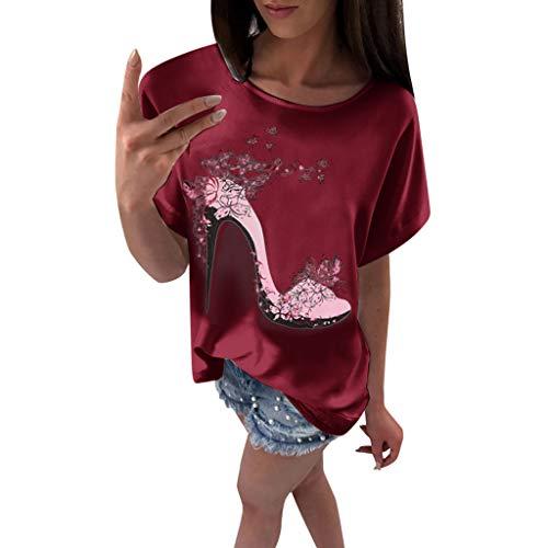 OVERDOSE Frauen Kurzarm Blumen Pumps Gedruckt Tops Strand Beiläufige Lose Bluse Top T-Shirt (EU-42/CN-XL, X-e-rot) Classic Satin Mantel