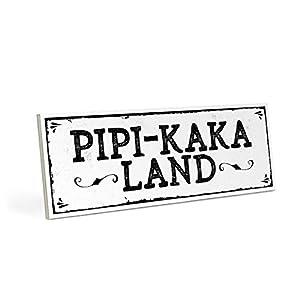ARTFAVES Holzschild mit Spruch - PIPI-Kaka-Land - Vintage Shabby Deko-Wandbild/Türschild