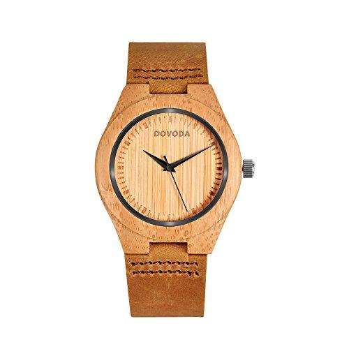 Holzuhr Damen Armbanduhr Bambus Analog Quarzwerk Kalbsleder Armband Braun (braun)