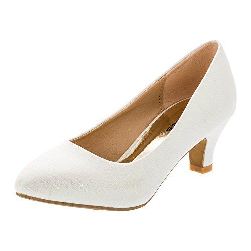Mikelo Festliche Mädchen Pumps Ballerina Schuhe Absatz Glitzer in Vielen Farben M342wsgl Weiß Glitzer 34