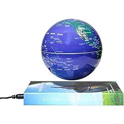 """Woodlev Magnetic Maglev levitación Levitron flotante giratorio 6 """"globo de oro y azul libro estilo plataforma Lreaning educación decoración del hogar (azul)"""