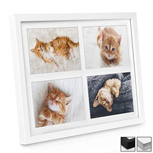 bomoe Bilderrahmen Galeria für 4 Fotos 10x15cm Fotorahmen aus Holz, Plexiglas, Metall-Aufhängung & Passepartout Multirahmen für Bilder Collagen - Weiß