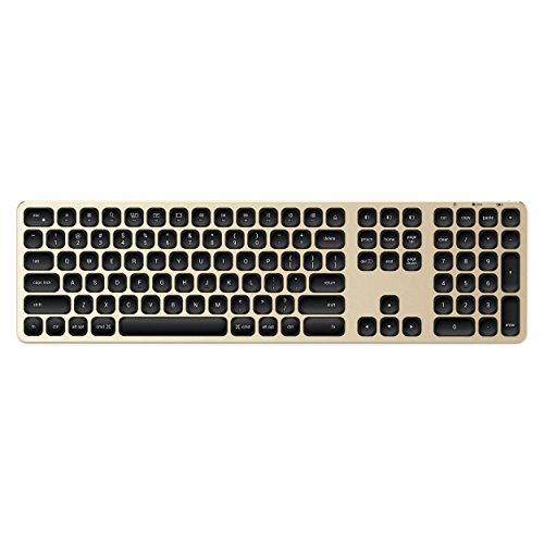 SATECHI kabelloses Bluetooth Keyboard mit numerischem Keypad und Sync-Funktion für 3 Geräte aus Aluminium (Englisch (USA), Gold)