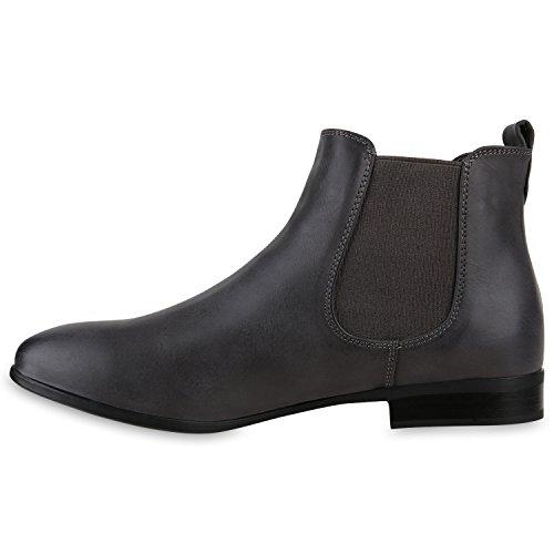 Klassische Damen Stiefeletten Chelsea Boots Lederoptik Schuhe Gr. 36-42 Dunkelgrau 2AIH4aC