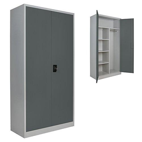 2er Set Putzmittelschrank Universalschrank Spind 180 x 90 x 40 cm Metallschrank Schließfachschrank Wertfachschrank mit Einlegeböden und Kleiderstange, Farbe:Grau-Dunkelgrau