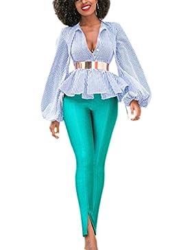 Le Donne Sexy A Maniche Lunghe Strisce Uniformi Scollo A V