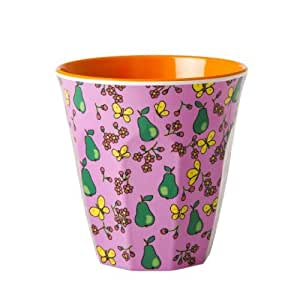 RICE DENMARK Becher with Pear Print - rosa mit Birnen