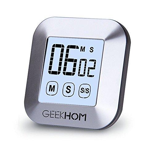 Magnetischer Küchentimer, GEEKHOM Digitaler Touchscreen-Timer mit Alarm, Countdown & Hochzähler, großer LCD Bildschirmtimer für die Küche und zum Kochen
