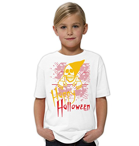 Mädchen Top Halloween Kostüme Teenager (Happy Halloween ::: Lustiges Kinder-Fun-Kostüm-T-Shirt Mädchen Teenager Party-Outfit-Bekleidung tolles Geschenk Farbe: weiss Gr:)