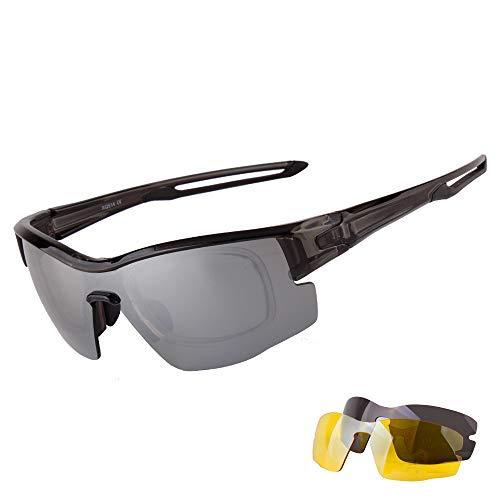 kamier Outdoor Reitbrille Set polarisierte Sonnenbrille Mountainbike winddichte Sportbrille schwarz grau
