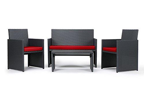 Rattan4Life 4-teilig Neapel Deluxe Polyrattan Gartenmöbel Set, Sofa / Lounge / Gartengarnitur / Kissenbezug, schwarz / rot