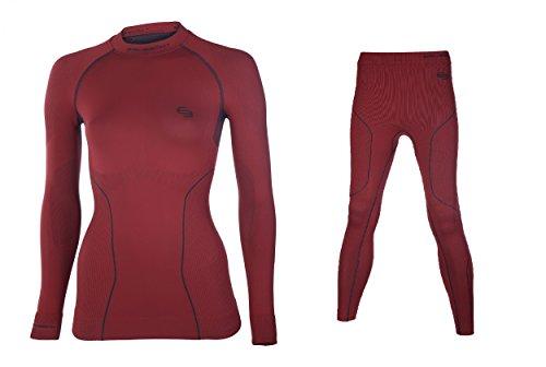 BRUBECK® SET LE10420+LS10670 THERMO Damen Shirt + Hose Funktionsunterwäsche Lang | Nahtlos | Hochwertig | Temperaturregulierend | Geruchshemmend | Antibakteriell | Anti-allergisch | Pflegeleicht, Größen:XL;Farbe:Rot (Polypropylen Thermo-unterwäsche)