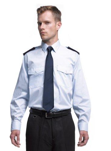 Easy Care Langarm Security / Piloten Hemd mit Brusttaschen, Farbe:White;Größe:38