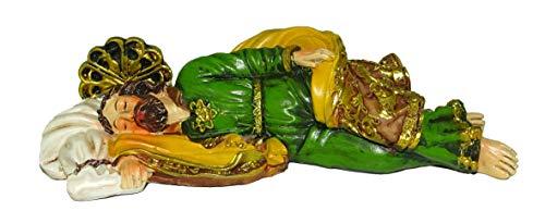 Statue Kunstharz bemalt cm 20-Josef Schlafender mit Lesezeichen in Geschenkbox -