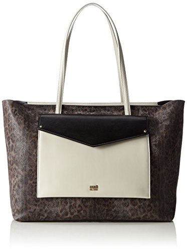 Cavalli Large shopping bag Leopard Color Addicti, Borsa tote donna Multicolore Mehrfarbig (Offwhite/Black F03) 35x28x16 cm (B x H x T)