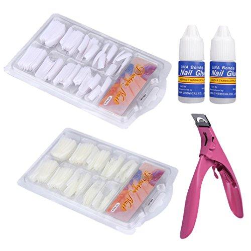 ite Natural False Acryl Französisch Tipps & Nail Art Kleber Cutter Tool Set (Leuchten Luftballons Großhandel)