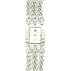 Jolie Damen Panzerkette Armbanduhr Stahl Silber Michael John 1122