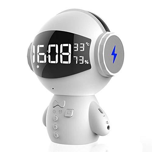 ZENWEN Roboter Wireless Bluetooth Lautsprecher, Wecker Karaoke im freien Smart Mini Computer kleine Audio Home Desktop Portable Stereo Lautsprecher KTV (weiß) (Smart-computer-desktop)