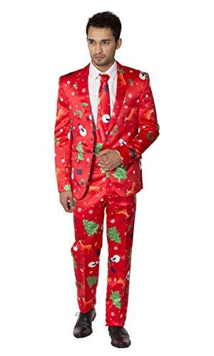 Neu Herren Prämie Neuheit Rentier Baum Outfit Kostüm Weihnachten (Weihnachten Hässlich Pullover Anzug)