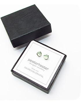 pewterhooter 925 Sterling Silber Ohrstecker Ohrringe handgefertigt mit funkelnden Chrysolite Kristall aus SWAROVSKI®.