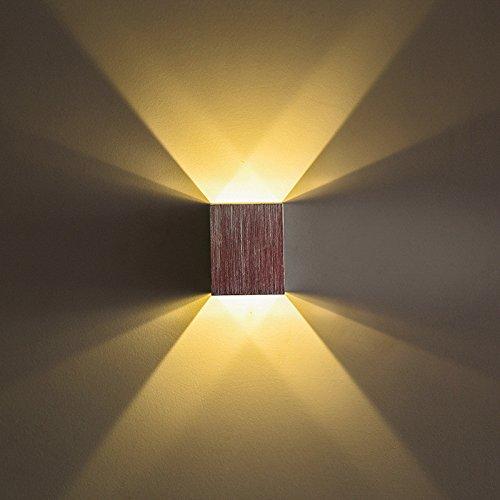 HRCxue Kreative L Schlafzimmer Nachttischlampen Kinderzimmer weich Wandleuchte Hotel auf und ab Licht moderne LED Wand Licht gelb 1W 6 * 6 * 7,5 cm