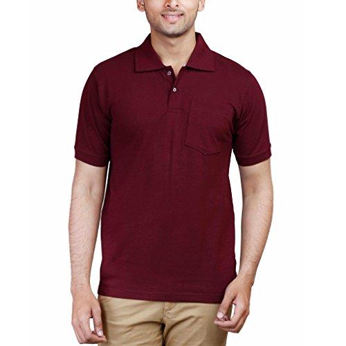 FLEXIMAA Men's Cotton Polo Collar T-Shirt - (cfpmaroon-XXL)