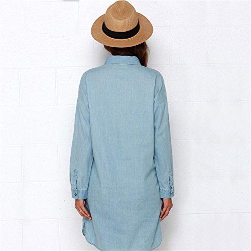 Femmes Sexy Summer Lapel à manches longues Split bouton Long Denim chemise jupe robe Bleu