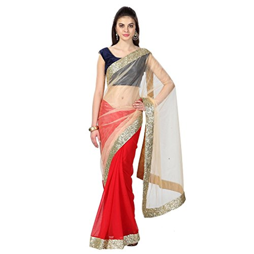 Fashion and Hub Women\'s Net Saree With Blouse Piece (Latest Saree Collecion Vdi50_Red)