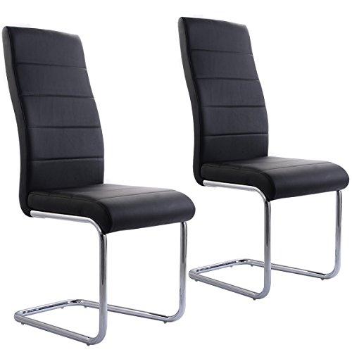 Costway 2 x Schwingstuhl Freischwinger-Stuhl Esszimmerstuhl Küchenstuhl Polsterstuhl Designerstuhl Sitzgruppe Stühle PU Polsterung Schwarz