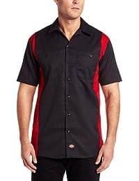 Dickies Workwear ls524bker ocupacional poliéster/algodón hombres de manga corta para Industrial Color bloque camiseta, negro/Inglés rojo, L, Black/English Red, 1