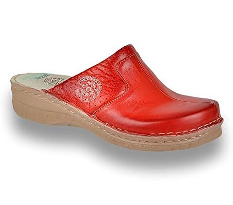LEON 360 Komfortschuhe Lederschuhe Pantolette Clog Damen, Rot, EU 39