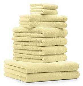 10 tlg. Badetuch Duschtuch Handtücher Set Premium Farbe Gelb 100% Baumwolle 2 Duschtücher 4 Handtücher 2 Gästetücher 2 Waschhandschuhe