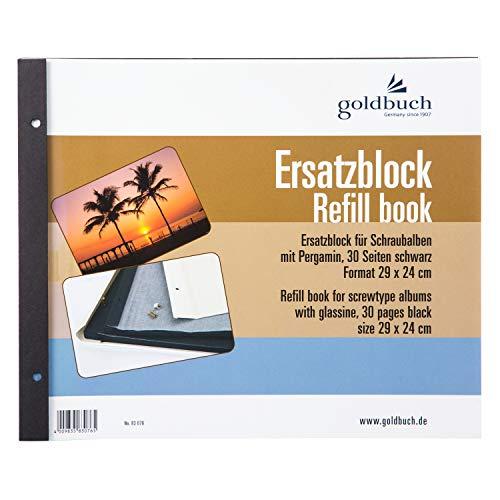 Goldbuch Ersatzblock für Schraubalbum, 30 schwarze Seiten mit Pergamin-Trennblättern, Passend für Alben mit einer Größe von 30 x 25 cm, 83076 -