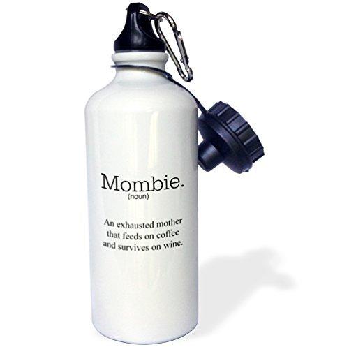 MOMBIE ein erschöpft Mutter, dass Feeds auf Wein und Kaffee Sport Wasser Flasche Edelstahl-Flasche für Frauen Herren Kinder 400ml -