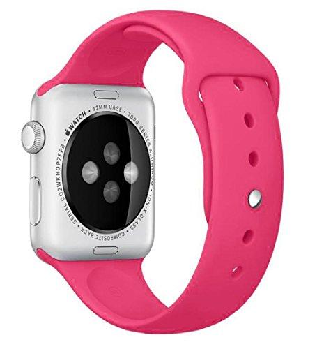 Preisvergleich Produktbild 42mm iWatch Band Tonsee Sport Silikon Armband (Khaki) (Hot Pink)