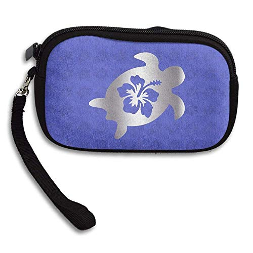 (Hibiscus Honu Hawaiian Sea Turtle Platinum Logo Purse & Key Wristlet Bag)