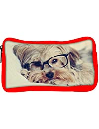 Snoogg Eco Friendly Canvas Cute Dog With Glasses Designer Student Pen Pencil Case Coin Purse Pouch Cosmetic Makeup...