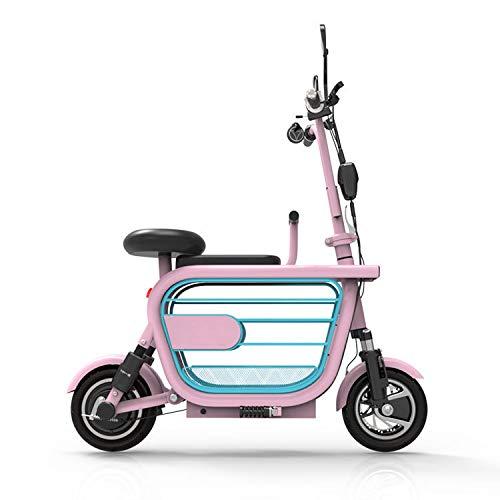 ZZKK Faltbarer elektrischer Roller Erwachsene Kleine Elektroauto Lithium Tram Mini Kleine Roller mit Speicher-Korb-Kindersitz Lager Gewicht 280KG,48v8a/35km