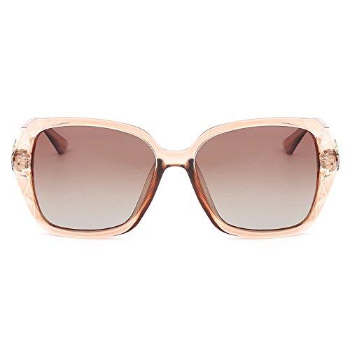 Yiph-Sunglass Sonnenbrillen Mode Frauen-Weinlese-Oversize-Gläser polarisierte Schmetterlings-Sonnenbrille-Diamant-Bein mit der Grad-Objektiv-weiblichen prismatischen Eyewear UV400 (Color : Tea Tea)