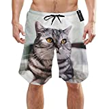 Photo de Calm Pet Cat Animal Yellow Eyes Curious Mens Summer Swim Trunks 3D Graphic Quick Dry Funny Beach Board Shorts with Mesh Lining par OQUYCZ