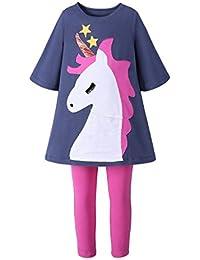 Mooler Vestido largo de manga larga con cuello redondo de manga larga Vestido de manga larga con aplicación de unicornio