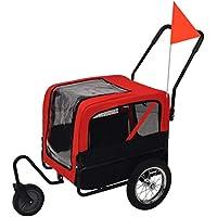 Festnight Remolque de Bicicleta para Perros y Cochecito 2-en-1 Transporte fácil Rojo