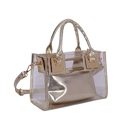 AlwaySky Damenmode Transparente Tasche 2 in 1 Handtasche Top Griff Tote Schulter Crossbody Tasche Gold